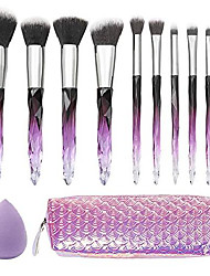 cheap -10pcs crystal handle makeup brushes set w/cosmetic bag and makeup egg tools contour blush foundation concealers highlighter eye shadows cosmetic brushes kits (pr)