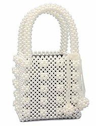 cheap -womens beaded handbags handmade weave crystal pearl tote bags cream