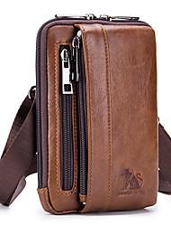 cheap -Men's Bags Nappa Leather Fanny Pack Belt Pouch / Belt Bag Zipper Daily Holiday Bum Bag MessengerBag Dark Brown Black