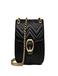cheap -women's pu leather handbags purse fashion chain shoulder bag quilted crossbody bags - black + white