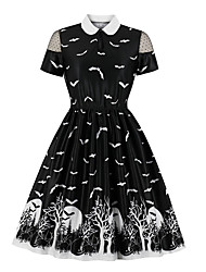 cheap -A-Line Little Black Dress Vintage Party Wear Cocktail Party Dress Queen Anne Short Sleeve Knee Length Spandex with Pleats Pattern Print 2020
