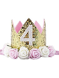 cheap -baby princess tiara crown, baby girls/kids first birthday hat sparkle gold flower style with artificial rose flower (4st golden crown)