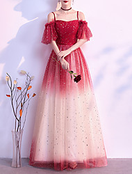 cheap -A-Line Minimalist Vintage Engagement Formal Evening Dress Spaghetti Strap Short Sleeve Floor Length Tulle with Sequin 2021
