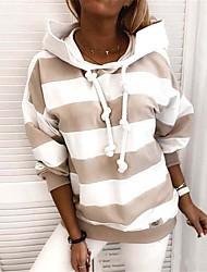 cheap -Women's Pullover Hoodie Sweatshirt Striped Daily non-printing Basic Hoodies Sweatshirts  Black Blue Blushing Pink