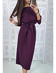 cheap -Women's A-Line Dress Knee Length Dress - Long Sleeve Solid Color Patchwork Winter Casual 2020 Purple Red Green S M L XL XXL