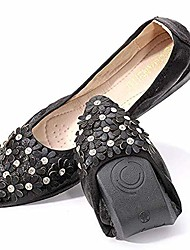 cheap -women's wedding flats rhinestone slip on foldable ballet shoes 5.5 black