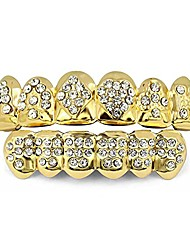 cheap -18k plated gold grills teeth grillz for men women iced out hip hop poker diamond top & bottom face grills for teeth