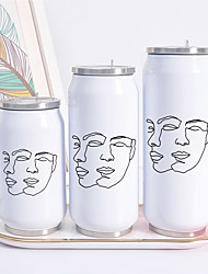 cheap -Abstract Art Print Cans Thermos Flask Tumbler Thermos Coffee Mug Water Bottle Termos Cafe Travel Outdoor Straw bottle