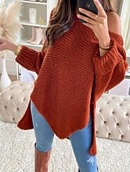 cheap -Women's Basic Asymmetric Hem Solid Color Plain Pullover Long Sleeve Sweater Cardigans Off Shoulder Fall Winter Wine