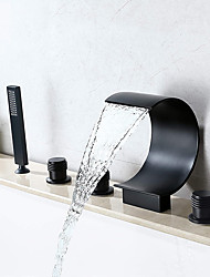 cheap -Bathtub Faucet - Contemporary Oil-rubbed Bronze Roman Tub Ceramic Valve Bath Shower Mixer Taps / Brass / Two Handles Five Holes