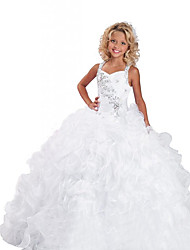 cheap -Ball Gown Floor Length Party / Wedding Flower Girl Dresses - Organza Sleeveless Jewel Neck with Tier / Solid