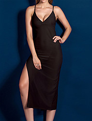 cheap -Women's Backless Mesh Chemises & Gowns Suits Nightwear Solid Colored Black / Khaki S M L