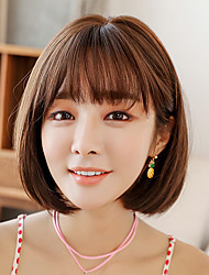 cheap -Synthetic Wig kinky Straight With Bangs Wig Short Brown / Black Black Chocolate Synthetic Hair 12 inch Women's Soft Classic Exquisite Black Brown