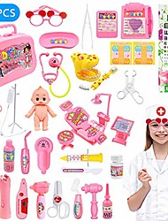 cheap -kids doctor kit 41 pcs pretend-n-play medical toys set doctor nurse dentise roleplay w/electronic stethoscope doll stem games birthday holdiday gifts for kids girls 3+ years old