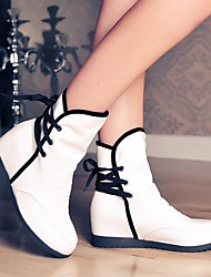 cheap -Women's Boots Flat Heel Round Toe Booties Ankle Boots Casual Daily PU Solid Colored White Black Yellow / Booties / Ankle Boots / Booties / Ankle Boots