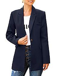 povoljno -ženske dame s dugim rukavima za posao povremeni rad uredski urez džepovi na reveru kopča odijela tamnoplava, veličina s (nas 4-6)