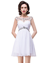 cheap -A-Line Elegant Beautiful Back Party Wear Cocktail Party Dress Illusion Neck Sleeveless Short / Mini Chiffon with Pleats Crystals 2020
