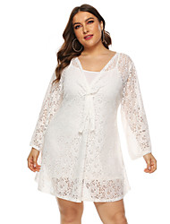 cheap -Women's A-Line Dress Knee Length Dress - Long Sleeve Solid Color Lace Summer V Neck Sexy Going out Slim 2020 White XL XXL 3XL 4XL