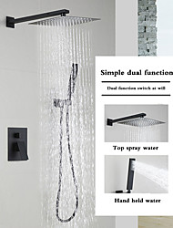 cheap -Matte Black Shower Faucets Sets Complete with Stainless Steel Shower Head and Solid Brass Handshower Wall Mounted Rainfall Shower Head System Contain Shower Faucet Rough-in Valve Body and Trim