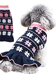 cheap -Dog Cat Sweater Dress Stars Casual / Daily Cute Winter Dog Clothes Puppy Clothes Dog Outfits Dark Blue Gray Costume for Girl and Boy Dog Polyester XS S M L