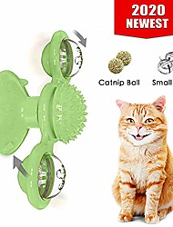 cheap -windmill cat toy turntable teasing interactive cat toys for indoor cats with suction cup scratching tickle cats hair brush funny kitten toys with catnip and bells (green)