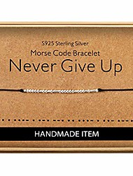 cheap -never give up morse code bracelet sterling silver beads on silk cord inspirational jewelry for women