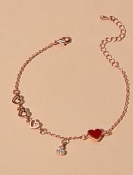 cheap -Women's Chain Bracelet Heart Sweet Heart Sweet Rhinestone Bracelet Jewelry Rose Gold For Date Birthday