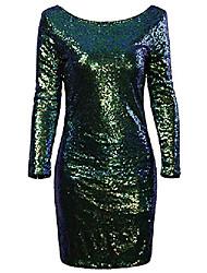 povoljno -vijiv ženska blistava blistava glam šljokica dugih rukava flapper party klupska haljina, višebojna zelena, srednja