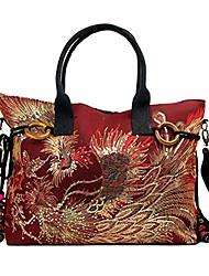 cheap -women canvas shoulder bag sequins peacock embroidery handbag stylish tote bags casual cross-body bag, decorative pendants (big red)