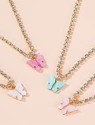 cheap -Women's Couple's Cubic Zirconia Pendant Necklace Necklace Classic Butterfly Dainty Simple Sweet Fashion Crystal Alloy White Blue Red Blushing Pink 45 cm Necklace Jewelry 1pc For Party Evening Gift