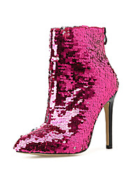 cheap -Women's Boots Stiletto Heel Pointed Toe Casual Basic Daily Sequin Color Block PU Booties / Ankle Boots Walking Shoes Fuchsia