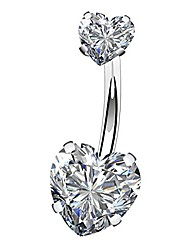 cheap -14g surgical steel faceted heart cubic zirconia navel rings