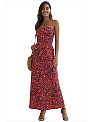 cheap -Women's Sheath Dress Maxi long Dress - Sleeveless Floral Print Spring Strapless Elegant Slim 2020 Black Blue Purple Red Orange Green S M L XL