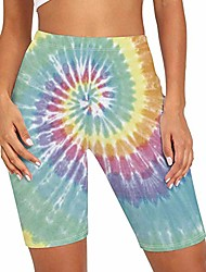 cheap -biker shorts for women high waist tie dye workout shorts 7 inch comfy athletic yoga shorts