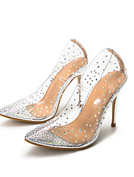 cheap -Women's Heels Stiletto Heel Pointed Toe Sexy Daily PVC Rhinestone Solid Colored Gold Silver