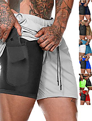 cheap -Men's Running Shorts Sports Outdoor Bottoms 2 in 1 with Phone Pocket Liner Fitness Gym Workout Running Jogging Trail Moisture Wicking Quick Dry Breathable Sport Solid Colored Dark Grey Cobalt Blue
