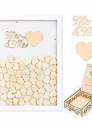 cheap -wooden wedding guest book alternative drop top guest book frame sign book with 95pcs wooden hearts memorial gifts rustic decoration for wedding (white)