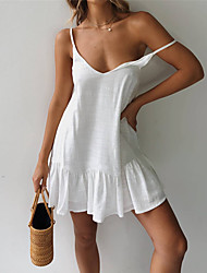 cheap -Women's Strap Dress Short Mini Dress White Yellow Green Sleeveless Solid Color Backless Summer V Neck Hot Casual Sexy Cotton 2021 S M L XL