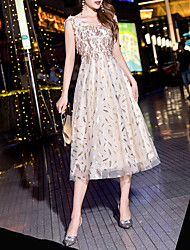 cheap -A-Line Glittering Vintage Homecoming Cocktail Party Dress V Neck Sleeveless Tea Length Tulle with Sequin Tassel 2020