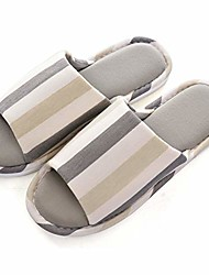 cheap -womens/mens house slippers, casual comfort breathable cotton linen indoor open-toe home slippers,khaki1774