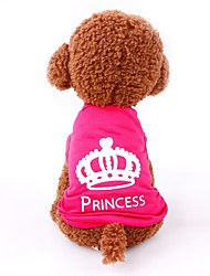 cheap -Dog Cat Shirt / T-Shirt Vest Tiaras & Crowns Simple Style Dog Clothes Puppy Clothes Dog Outfits Red Costume for Girl and Boy Dog Padded Fabric XS S M L