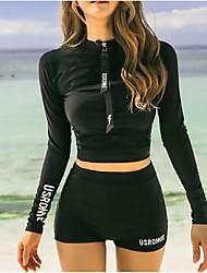 cheap -Women's Rashguard Swimsuit Swimwear Thermal / Warm Long Sleeve Front Zip - Swimming Patchwork Summer / Stretchy