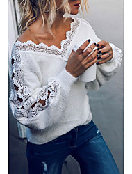 cheap -Women's Basic Knitted Lace Trims Solid Color Plain Pullover Acrylic Fibers Long Sleeve Sweater Cardigans V Neck Fall Winter White Black Gray