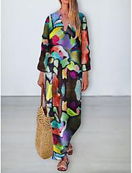 cheap -Women's Swing Dress Maxi long Dress - 3/4 Length Sleeve Print Patchwork Button Print Fall V Neck Casual Loose 2020 Rainbow S M L XL XXL 3XL