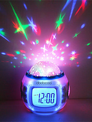 cheap -1pcs Music Alarm Clock Sky Projector Light Staycation For Children Color-Changing Birthday Gift(Not Include Batteries) 10cm*10cm