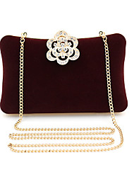 cheap -Women's Bags Polyester Alloy Evening Bag Crystals Flower Solid Color Floral Print Handbags Wedding Event / Party Black Drak Red