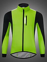 cheap -WOSAWE Men's Cycling Jersey Winter Fleece Bike Jacket Top Thermal Warm Waterproof Fleece Lining Sports Solid Color Green / Black / Red / Black / Blue Clothing Apparel Bike Wear / Long Sleeve