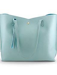 cheap -oct17 women tote bag - tassels faux leather shoulder handbags, fashion ladies purses satchel messenger bags - light blue