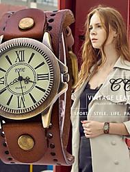 cheap -vintage leather strap wide band wristwatch cuff quartz watch for men - brown