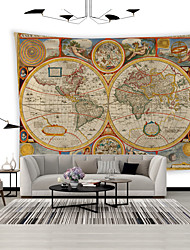 cheap -Wall Tapestry Art Decor Blanket Curtain Picnic Tablecloth Hanging Home Bedroom Living Room Dorm Decoration Polyester World Map Latitude And Longitude